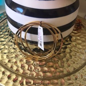 Cookie Lee Four Gold Plated Uneven Bangles